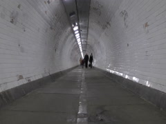 Time lapse. Pedestrian tunnel under the River Thames. Stock Footage