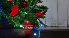 Christmas gifts interior tree New Year and toys room blinking lights and Stock Footage