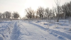 Road trail in the snow winter landscape beautiful golf snowing sun glare nature Stock Footage