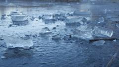 Ice frozen water on the river ice break debris beautiful winter nature landscape Stock Footage