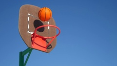 Old basketball hoop, street basketball throw sport the ball in the basket Stock Footage