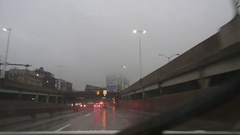 Car Driving on Highway and Into Tunnel in New York Stock Video Stock Footage