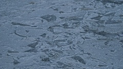 Ice frozen water puddle cracked nature winter Stock Footage