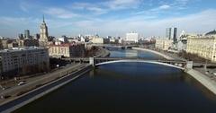Aerial Moscow White House Subway Bridge Stock Footage