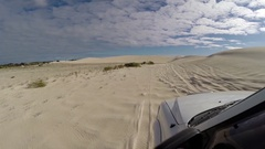 POV 4x4 Vehicle driving along challenging sandy track Stock Footage