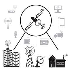 Transmission satellite information communication Stock Illustration