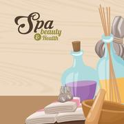 Spa beauty and health towel aroma therapy herbal Stock Illustration