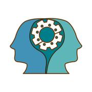 Profile heads wirh gear icon Stock Illustration