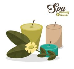 Spa beauty health aroma candles with flower Stock Illustration