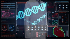 Doctor touching screen, heredity.Human DNA, Futuristic medical. interface. Stock Footage