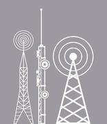 Towers telecommunication television radio Stock Illustration