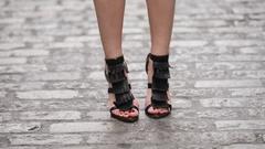 Woman walking wearing black high heels Stock Footage