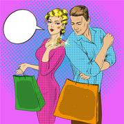 Vector illustration of shopping couple talking to each other Stock Illustration