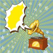 Vector illustration of old playing gramophone, retro pop art style Stock Illustration