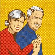 Vector illustration of happy mature couple in pop art style Piirros