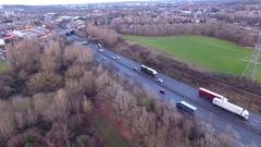 Aerial view of the M5 motorway, UK. Stock Footage