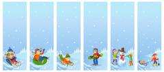 Vector illustration of children playing in the street in winter. Kids sculpts Stock Illustration