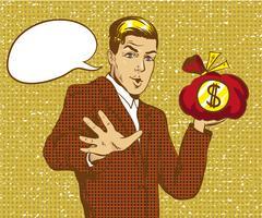 Vector illustration of happy businessman holding money bag, pop art Stock Illustration