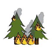 Drawing wildfire destroys pines smock Stock Illustration