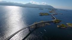 Atlantic ocean road aerial Stock Footage