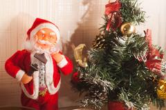 Toy Santa Claus and Christmas tree, Stock Photos