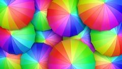 Multicolored umbrellas looping 3D animation Stock Footage