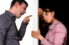 Unhappy couple arguing and do not understand each other Stock Photos