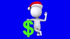 3d white man stand with green dollar sign Stock Footage