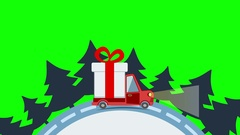 Delivery flat transport truck, van with gift box pack in xmas eve Arkistovideo