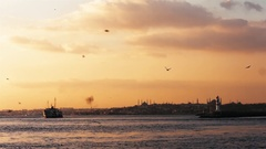 Silhouette of ISTANBUL  and beautiful sunset. December 2016 Stock Footage