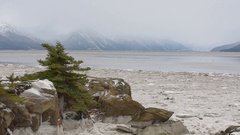 Ice Flow on the Cook Inlet on a snowy day Stock Footage