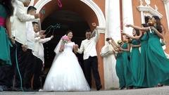 Wedding Couple, Bride And Groom kiss at church portal Arkistovideo