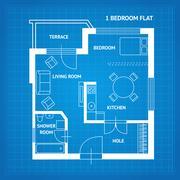 Apartment Floor Plan Blueprint. Vector Stock Illustration