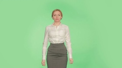 Body language. gestures of arms and hands. spire hand position. woman, chromakey Stock Footage