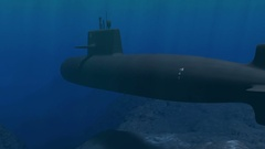 Submarine patrolling close to the ocean floor Stock Footage