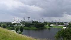 Munich Olympic Park Stock Footage