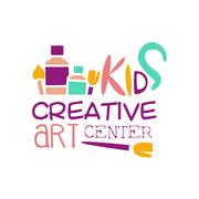 Kids Creative Class Template Promotional Logo With Paintbrush Symbols Of Art and Stock Illustration