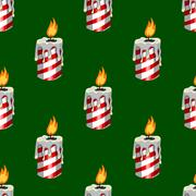 Seamless pattern with burning candle Stock Illustration