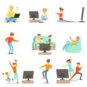 People Playing Video Games With High Tech Technologies Set Of Happy Cartoon Stock Illustration