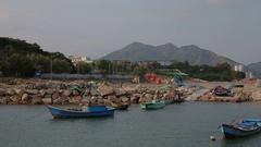 Fishing boats. anchored at Nha Trang Stock Footage