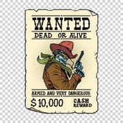 Armed robot cowboy. Steampunk retro ad Stock Illustration