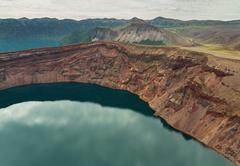 Lake in the Caldera volcano Ksudach. South Kamchatka Nature Park Stock Photos