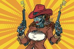 Robot woman gangster steampunk wild West Piirros