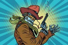 Robot cowboy wild West, OK gesture Stock Illustration