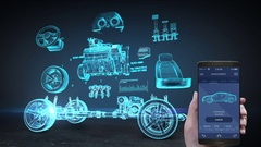 Car diagnosis management application using mobile, Vehicle parts, x-ray image. Stock Footage