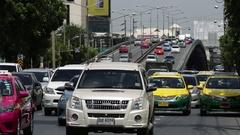 Car traffic Bangkok, city traffic jam Stock Footage