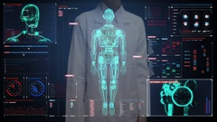Female doctor touching  screen, semi transparency robot in digital interface. Stock Footage