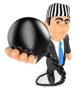 3D Businessman with prisoner ball. Corrupt politician Stock Illustration