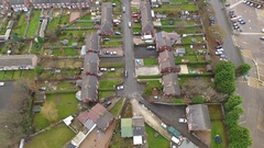 Tilting aerial view of a British street. Stock Footage