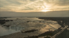 Time Lapse of Sunrise Over Niagara Falls from Hotel Room Window Sun / Clouds Stock Footage